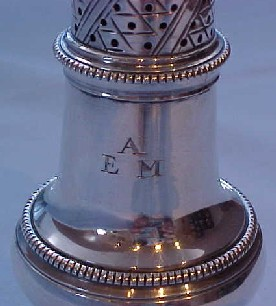 Initials on the superb Georgian sterling silver pepper caster, London 1768.